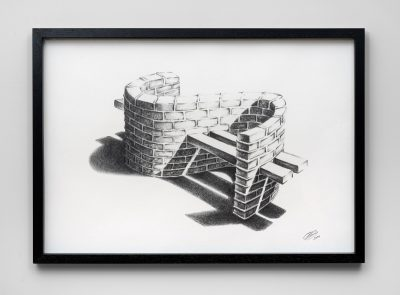 FH Adonis Flores Banco 2019 graphite on paper 70x100 cm framed