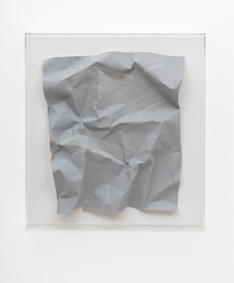 Özcan Kaplan Papierarbeit kriesgrau 2 April 2018 Dispersion paint ink paper 67 x 585 x 8 cm